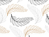 linear vector pattern, repeating abstract Geometry background, gray line of leaf or flower, floral. graphic clean design for fabric, wallpaper etc. pattern is on swatches panel. - 206998696