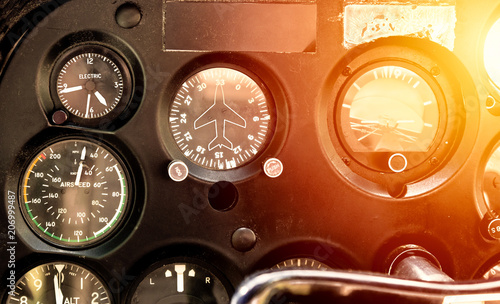 Cockpit of the old plane with all the flying instruments Canvas Print