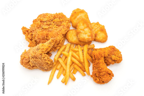 Fototapeta fried chicken with french fries and nuggets meal (junk food and unhealthy food) obraz