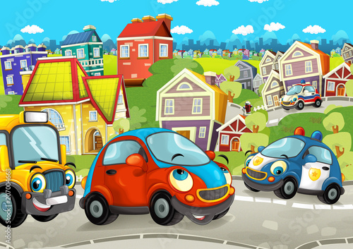 Foto op Canvas Cars cartoon scene with happy cars on the street driving through the city - illustration for children