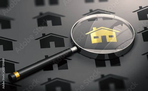 Photo  Real Estate Concept, Property Search and One Golden Unique House.