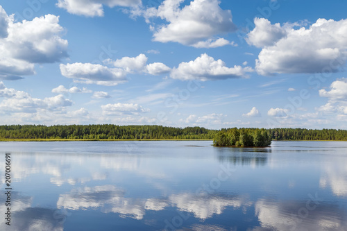 Door stickers River Landscape on the river Vyg, Russia