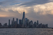 Amazing clouds behind New York City skyline viewed from Hoboken, New Jersey