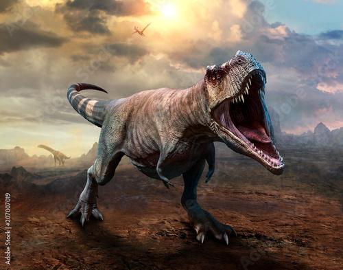 Photo  Tyrannosaurus rex scene 3D illustration