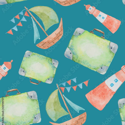 Cotton fabric Seamless pattern on a sea theme painted watercolor on a green background