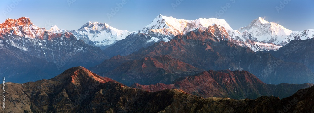 Fototapety, obrazy: mounts Everest Lhotse and Makalu, great himalayan range