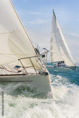 Two Sailing Boat Yachts at sea