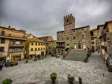Main Square With City Hall In Cortona, Tuscany