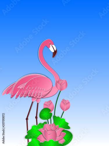 Foto op Aluminium Flamingo Pink flamingo and lotus flowers against the blue sky. Summer background, cover, banner, poster, template. 3d vector illustration. Paper cut out style.