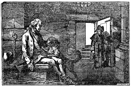 Obraz na plátne Trusted dog in prison together with his master (French Revolution) (from Das Hel