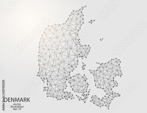 Fotografía A map of Denmark consisting of 3D triangles, lines, points, and connections