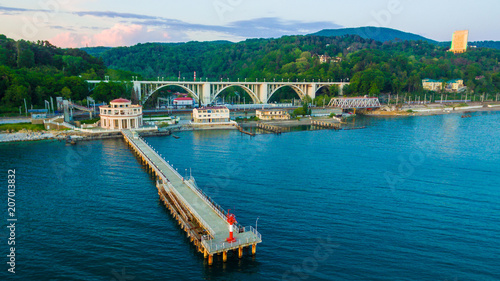 In de dag Poort Drone view of pier of Matsesta marine station an the background of the Matsesta viaduct in summer day, Sochi, Russia