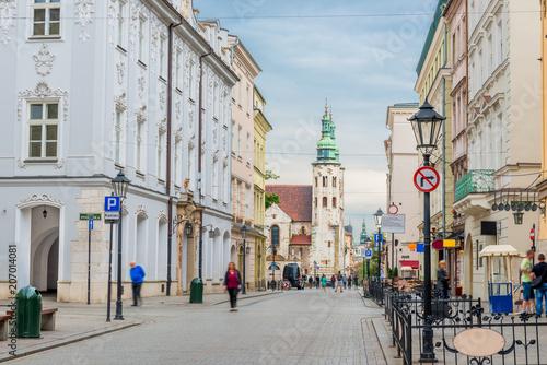 Fototapeta View of the beautiful Catholic church in the center of Krakow, Poland obraz