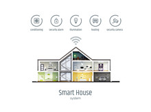 Smart House Infographics. House In A Cut With Icons Of House Management Systems. Modern Vector Illustration Isolated On White Background, Flat Style