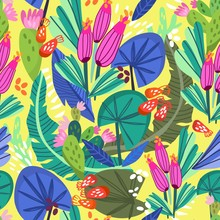 Tropical Floral Pattern In Bright Colors
