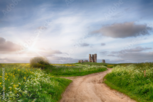 Foto op Canvas Rudnes Church ruin along a winding sandy track