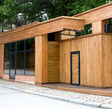 A Clean Wooden Facade Of A Sho...
