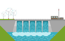 Vector Illustration. Hydropower Dam And Windmills.