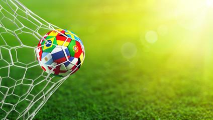 Fototapeta Soccer Ball Flags In Goal - Russia 2018
