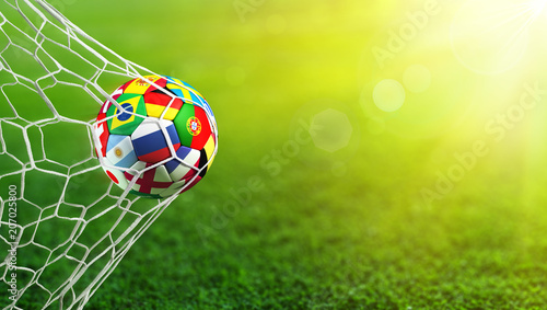 Papiers peints Individuel Soccer Ball Flags In Goal - Russia 2018