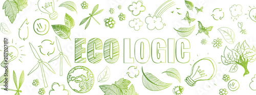 Ecologic doodles banner Canvas Print