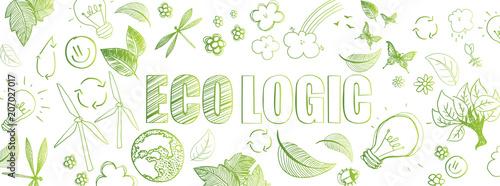 Obraz Ecologic doodles banner - fototapety do salonu