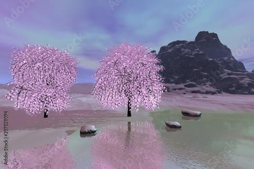 Piękna rzeka, zimowy krajobraz, ośnieżone drzewa i kamienie, odbicie na wodzie, skalista góra i kolorowe chmury na niebie.