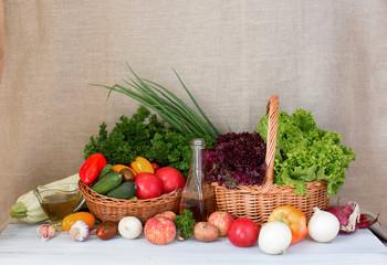 Farm vegetables in basket studio.
