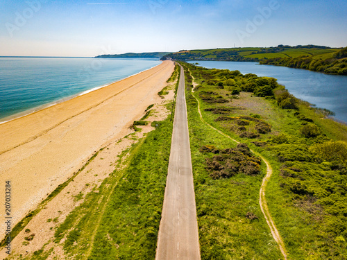 An aerial view of Slapton Sands in Devon UK Canvas Print