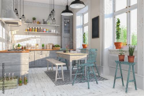 Skandinavische Nordische Kuche Wohnzimmer Esszimmer Wohnung