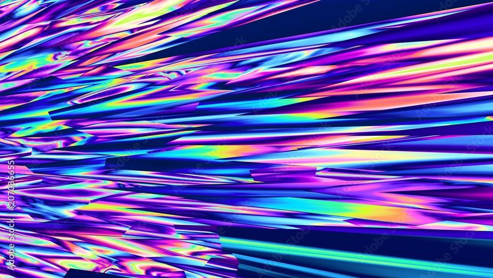 Fototapety, obrazy: Multicolor background. Glitch. Colorful glass. Splinters abstract. Digital design. 3d illustration. Creative. Wallpaper. Futuristic. Fluorescent. Vibrant. Vivid. Fantasy.