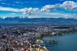 Leinwanddruck Bild - A, Vorarlberg, Blick über Bregenz, auf den Bodensee, die Festspielbühne und ins das Rheintal mit dem Alpsteingebirge