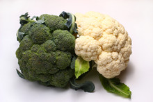 Broccoli And Cauliflower On A White Background