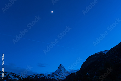 Night scape of Matterhorn mountain Switzerland Alps