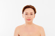 canvas print picture - Beauty middle age woman face portrait. Spa and anti aging concept Isolated on white background. Plastic surgery and collagen face injections. Wrinkles and menopause. Mock up. Copy space