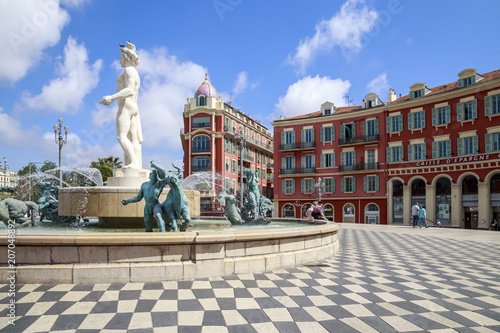 Nice, place Masséna, la Fontaine du Soleil et la statue d'Appollon Tablou Canvas