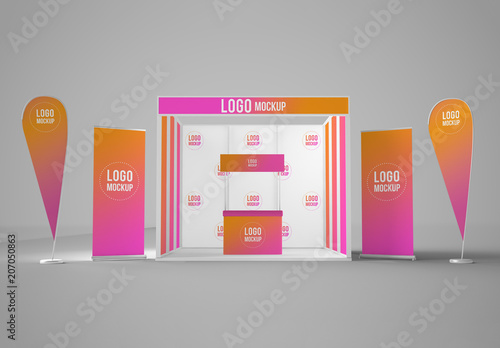 Exhibition Stand Mockup : Exhibition stand with rollers and flags mockup buy this stock