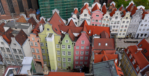 obraz dibond Gdansk old town stock images. Colorful houses in Poland. Ancient architecture in Gdansk. Historic houses in downtown Gdansk