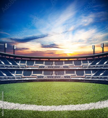 Spoed Foto op Canvas Stadion Mixed media image of empty soccer football stadium