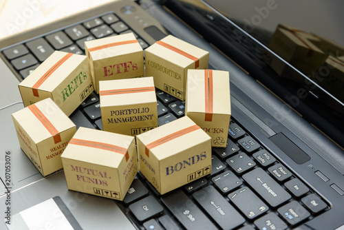 Online portfolio and wealth management with risk diversification concept : Paper boxes of financial instruments i Canvas Print