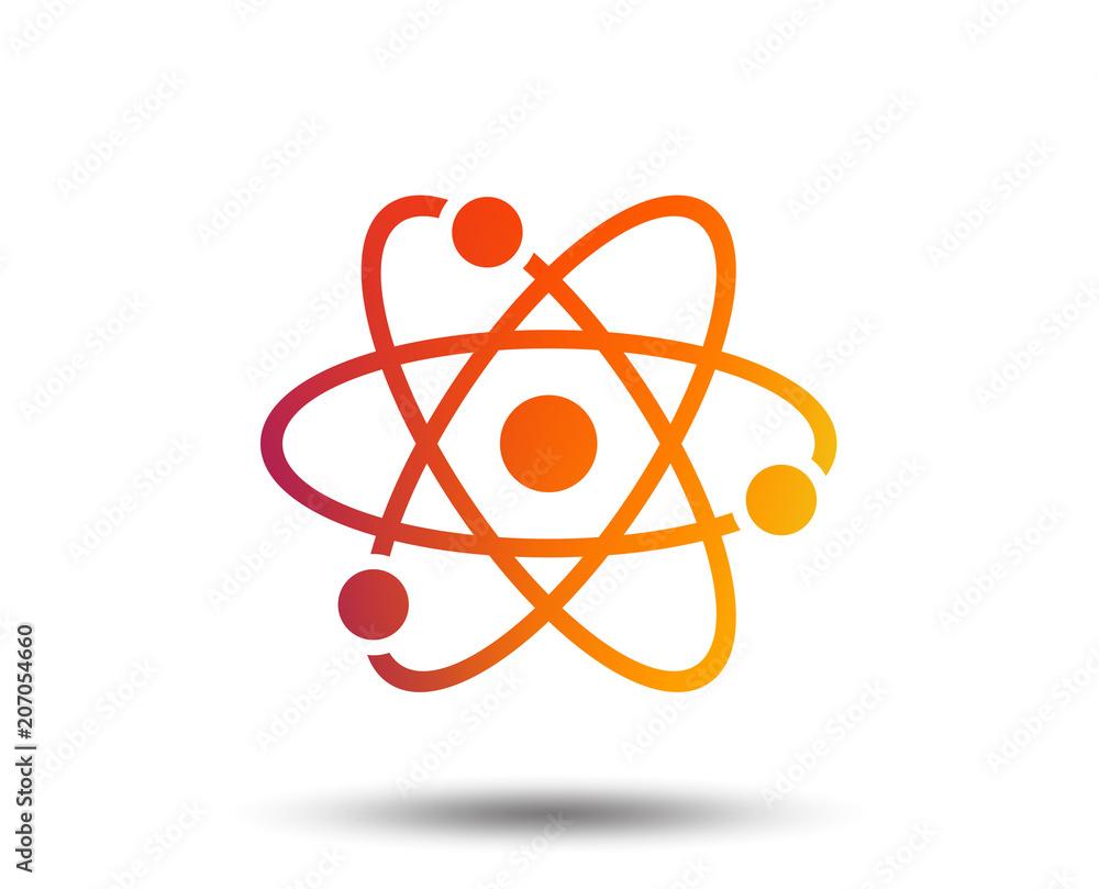 Fototapeta Atom sign icon. Atom part symbol. Blurred gradient design element. Vivid graphic flat icon. Vector