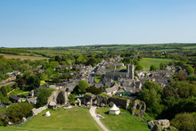 Aerial Photograph Of Corfe Castle Village In Dorset