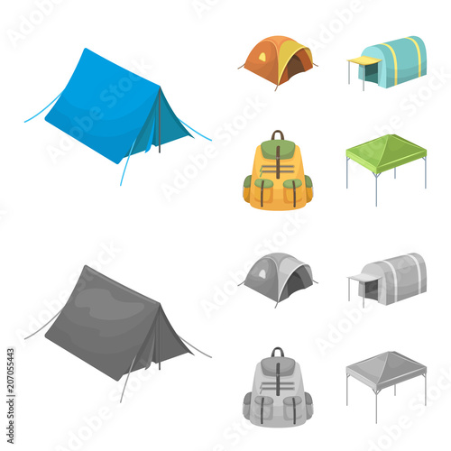 Canvas Prints Baby room Backpack and other kinds of tents.Tent set collection icons in cartoon,monochrome style vector symbol stock illustration web.