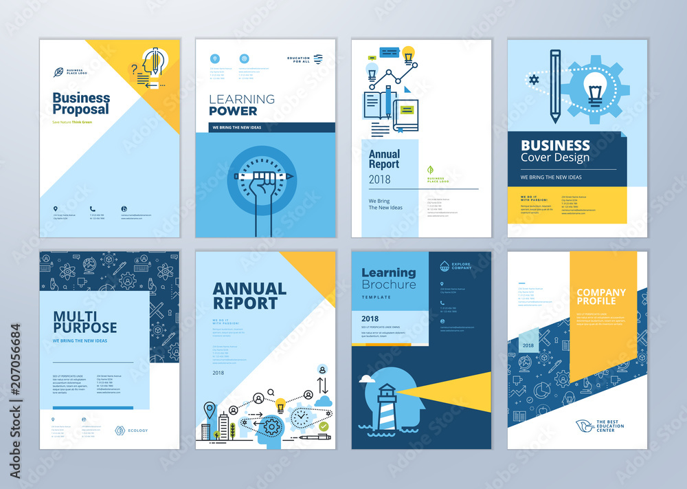 Fototapeta Set of brochure design templates on the subject of education, school, online learning. Vector illustrations for flyer layout, marketing material, annual report cover, presentation template.