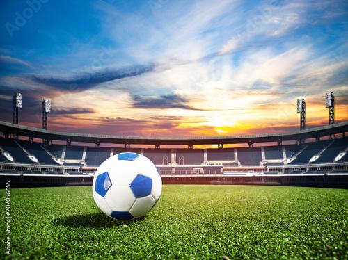 Spoed Foto op Canvas Stadion Ball on soccer stadium championship concept