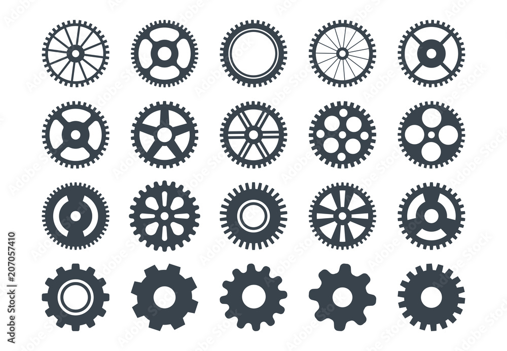 Fototapeta Cogwheel machine gear icon, set of gear wheels. Vector illustration, isolated.