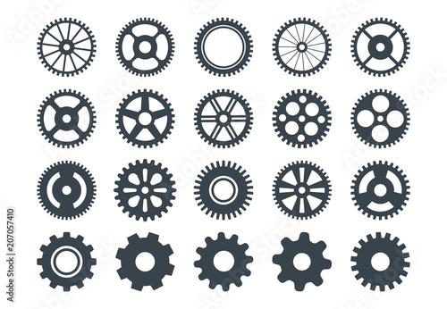 Fototapeta Cogwheel machine gear icon, set of gear wheels. Vector illustration, isolated. obraz
