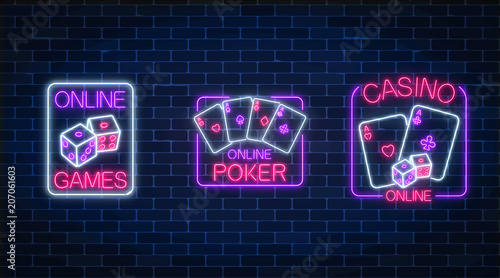 Set of three glowing neon signs of casino online games application. Casino bright signboard. Internet gambling banner.