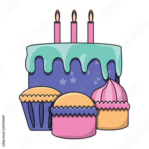 Muffins And Birthday Cake With Candles Over White Background Vector Illustration