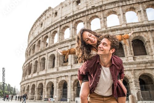 Couple at Colosseum, Rome Canvas Print